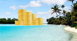 Offshore banking and  tax havens concept with golden coins on sand island and palm trees. Copy space